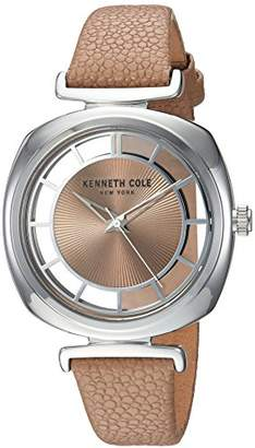 Kenneth Cole New York Women's 'Transparency' Quartz Brass-Plated-Stainless-Steel and Leather Dress Watch