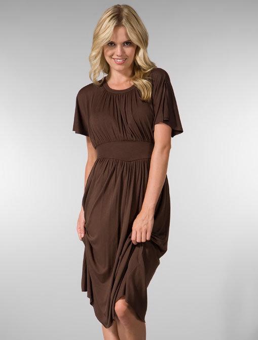 Rachel Pally Gina Flutter Sleeve Dress in Espresso