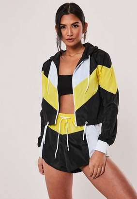 Missguided Yellow Colorblock Shell Suit Jacket And Shorts Set