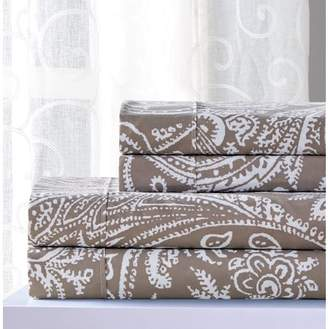RT Designers Collection Essential Paisley 4-Piece Printed Sheet Set in Taupe - King