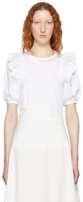 Simone Rocha White Beaded Puff Sleeve T-Shirt