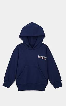 Balenciaga Kids' Logo Cotton-Blend Fleece Hoodie - Blue