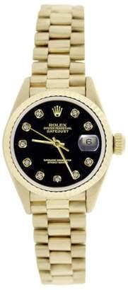 Rolex President 69178 18K Yellow Gold Black Diamond Dial Fluted Bezel 26mm Womens Watch