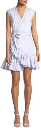 Rebecca Taylor Sleeveless Poplin Ruffle Wrap Dress