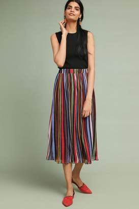 Anthropologie Rainbow-Striped Midi Skirt