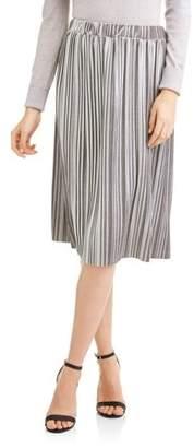 Faded Glory Women's Pleated Velour Flowy Midi Skirt