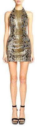Balmain Sequined Snake-Pattern Mini Dress, Black/Gold $3,379 thestylecure.com