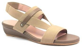 "Stuart Weitzman Heretostay"" Truffle (Tan) Leather & Elastic Wedge Sandal"