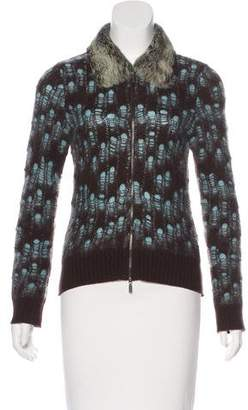 Iceberg Fur-Trimmed Zip-Up Cardigan