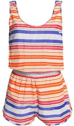 Striped Cotton And Silk-Blend Playsuit