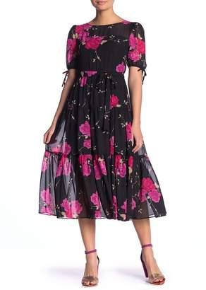 Betsey Johnson Chiffon Vintage Print Maxi Dress