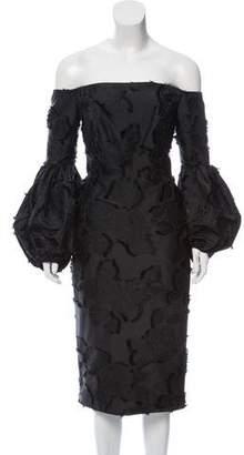 Lela Rose Knee-Length Off-The-Shoulder Dress