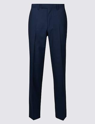 Marks and Spencer Blue Striped Tailored Fit Wool Trousers