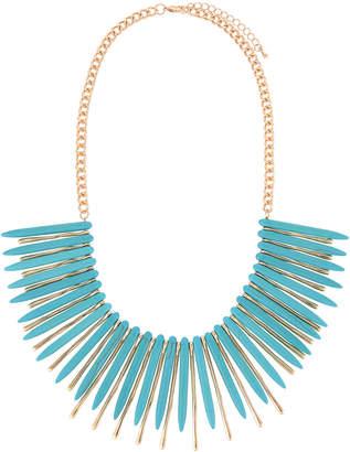Kenneth Jay Lane Spiky Bib Necklace Turquoise\/Gold