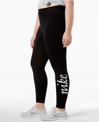 Nike Plus Size Metallic-Logo High-Rise Ankle Leggings