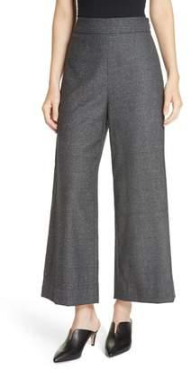 Rebecca Taylor Wide Leg Crop Silk Wool Blend Trousers
