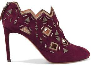 Alaia Studded Laser-cut Suede Ankle Boots