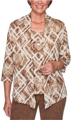 Alfred Dunner Walnut Grove Printed Layered-Look Top