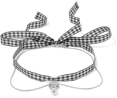 Miu Miu Miu Miu - Gingham Cotton, Silver-tone, Crystal And Faux Pearl Necklace - one size
