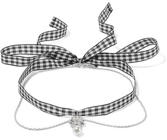 Miu Miu - Gingham Cotton, Silver-tone, Crystal And Faux Pearl Necklace - one size $310 thestylecure.com