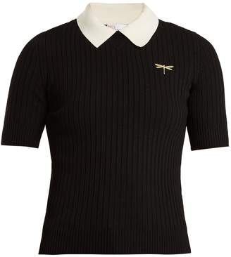 RED Valentino Dragonfly-embroidered ribbed-knit polo shirt