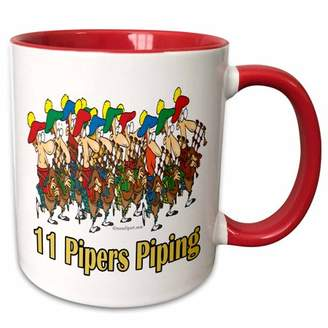 Eleven Paris 3dRose Pipers Piping - Two Tone Red Mug, 11-ounce