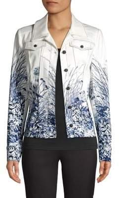 Elie Tahari Silvia Floral Denim Jacket