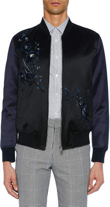 Alexander McQueen Men's Satin Black Bomber Jacket