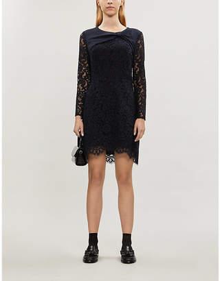 Claudie Pierlot Ruben lace-overlay cotton-blend mini dress