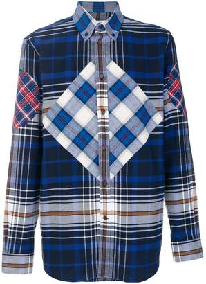 Givenchy graphic insert tartan shirt