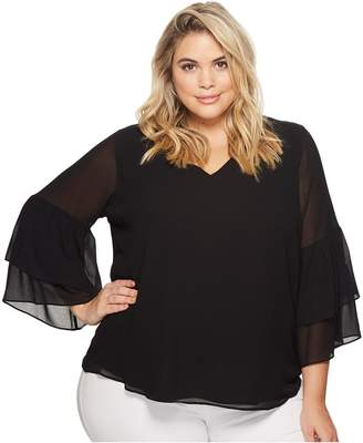Calvin Klein Plus Plus Size V-Neck Blouse with Two Tier Sleeve Women's Long Sleeve Pullover