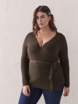 RIbbed-Knit Wrap Sweater - Addition Elle