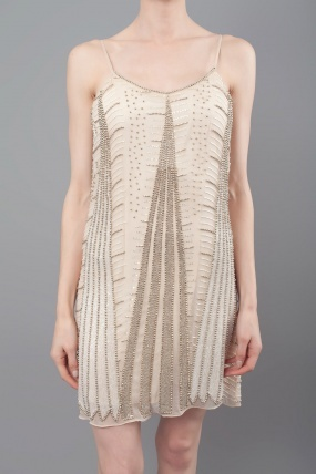 Parker Beaded Dress Nude