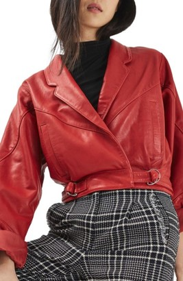 Women's Topshop Maggie Cropped Leather Jacket $360 thestylecure.com