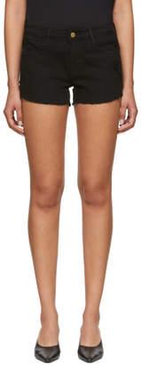 Frame Black Le Cut Off Tulip Hem Shorts