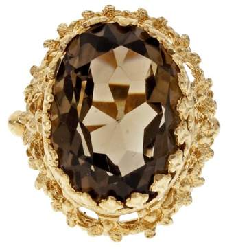 14K Yellow Gold Smoky Quartz Ring Size 6.75