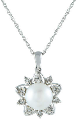 FINE JEWELRY 9.5-10Mm Cultured Freshwater Pearl And Diamond Accent Sterling Silver Pendant