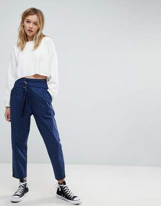 Asos Design Soft Peg Pants In Polka Dot