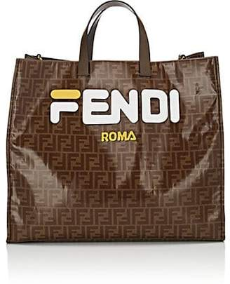 Fendi Women's Shopping Large Coated Canvas Tote Bag - White