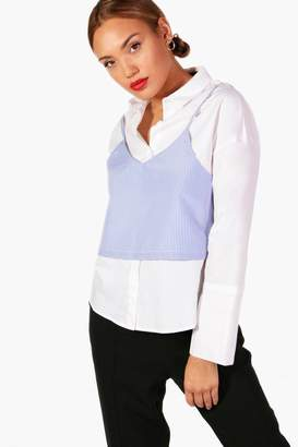 boohoo Stripe Cami and Shirt