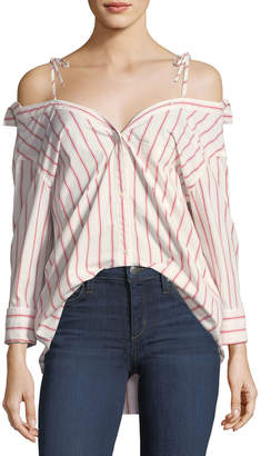 Joie Alvina Button-Down Striped Poplin Shirt