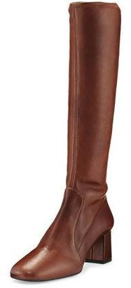 Prada Leather Square-Toe Knee Boot, Burnt (Bruciato) $1,100 thestylecure.com