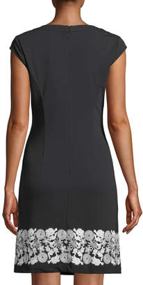Karl Lagerfeld Paris Lace Embroidery A-Line Dress