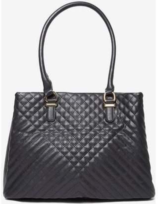 Dorothy Perkins Womens Black Quilt Triple Compartment Tote Bag