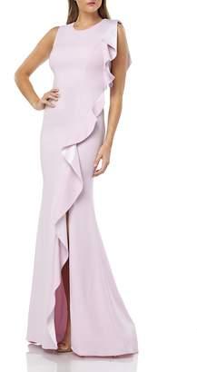 Carmen Marc Valvo Ruffle Gown