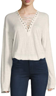 IRO Alety Lace-Up Long-Sleeve Top, Ivory