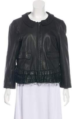 RED Valentino Leather Ruffle-Accented Jacket