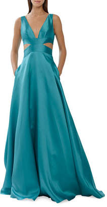 ML Monique Lhuillier Sleeveless V-Neck Satin Ball Gown w/ Side Cutouts