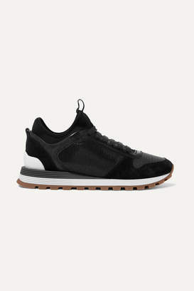 Brunello Cucinelli Bead-embellished Suede, Leather, Mesh And Neoprene Sneakers - Black