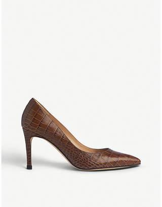 LK Bennett Floret crocodile-embossed leather courts